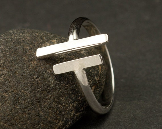 Sterling Silver Double Bar Ring - Silver Open Bar Ring- Parallel Bar Ring- Silver Wrap Ring- Modern Geometric Silver Ring- Metalwork T Ring