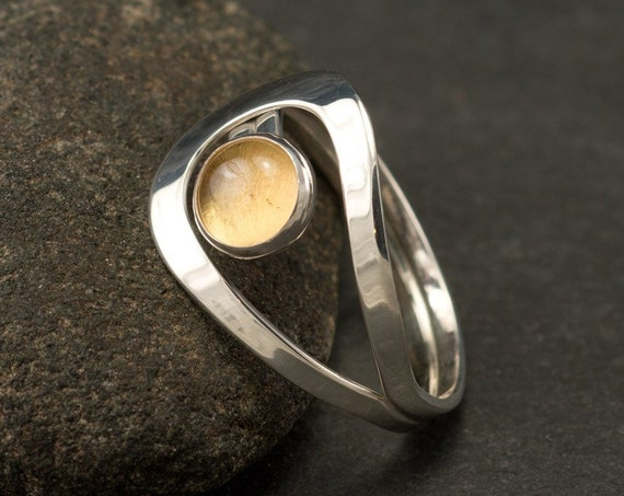 Citrine Ring- Silver Citrine Ring- Sterling Silver Yellow Stone Ring- November birthstone- handmade sterling silver ring