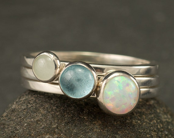 Stacking Rings- Silver Stacking Ring Set- Stackable Rings- Multistone Rings- Blue Topaz Ring, Opal Ring, Aquamarine Ring