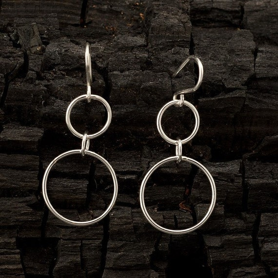 "Silver Hoop Earrings - Silver dangle earrings- Sterling silver earrings- handmade jewelry ""Double Hoop"""