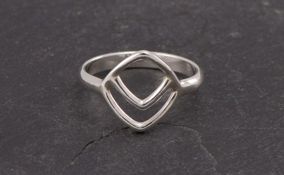 Chevron Ring-Sterling Silver Triangle Ring -Geometric Ring- Handmade Sterling Silver Diamond Ring- Simple Silver Boho Ring