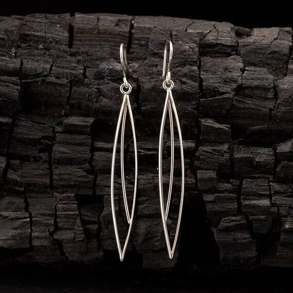 Long Dangle Earrings- Silver Drop Earrings- Modern Sterling Silver Earrings -Elongated Petal Earrings - Sterling Silver Jewelry Handmade
