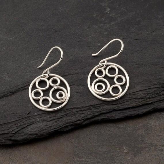 "Sterling Silver Earrings- Silver Circle Earrings- Silver Dangle Earrings- Sterling Silver Jewelry Handmade- ""Circle Cluster Earrings"""