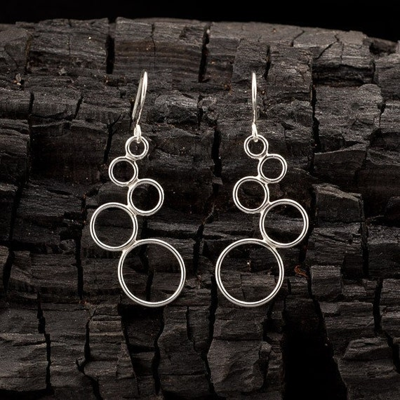 "Silver Dangle Earrings- Sterling Silver Earrings- Circle Chandelier Earrings- Handmade Modern Silver Jewelry- ""Cascading Circles"""