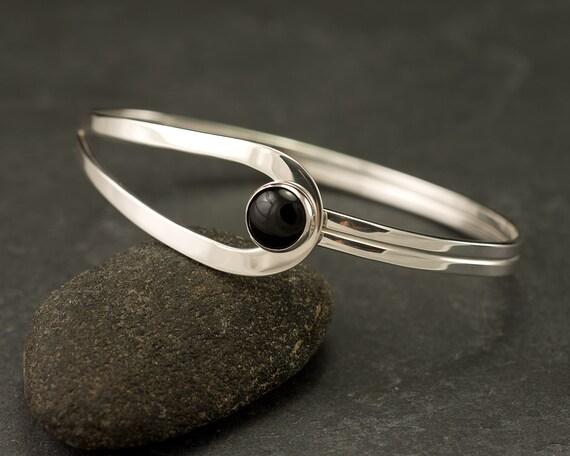 Silver Bracelet- Black Onyx Bracelet- Sterling Silver Latch Bracelet- Handmade Bracelets Silver- Black Onyx Jewelry