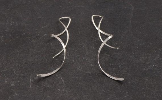 Spiral Earrings- Sterling Silver Twist Corkscrew Earrings- Silver Swirl Earrings- Silver Spiral Threader Earrings- Dangle Earrings