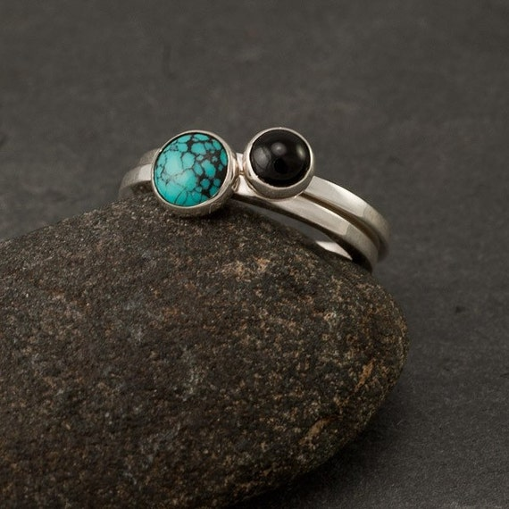 Stacking Rings- Silver Stacking Ring- Stacking Ring Set with stones- Turquoise Ring, Black Onyx Ring