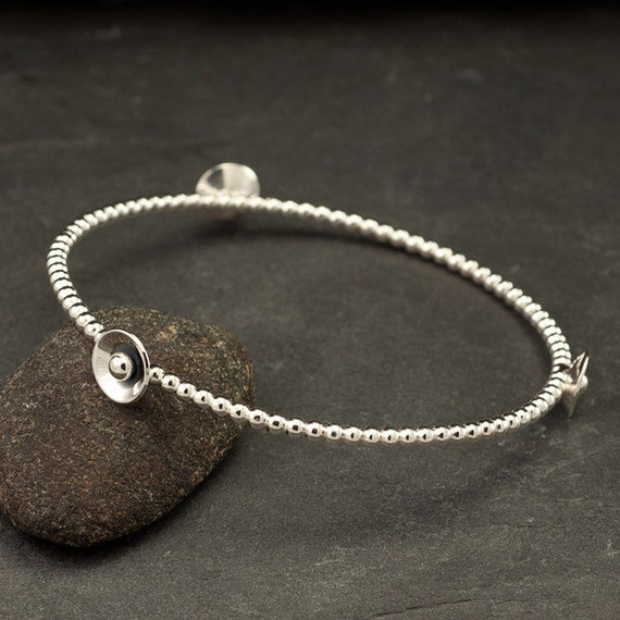 "Sterling Silver Bangle- Silver Bracelet with Silver Dots & Discs- Modern Metalwork Bracelet- Handmade - ""Mod Dot Bangle"""