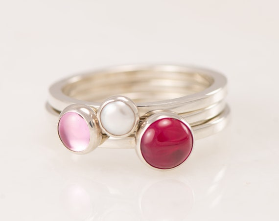 Custom Stacking Rings- Birthstone Stacking Ring Set- Mothers Ring Stackable - Gemstone Stack Rings- Birthstone Rings- Valentine's Day Rings
