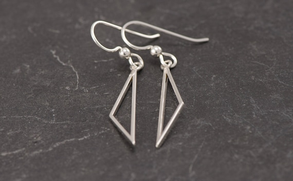 Silver Triangle Earrings- Sterling Silver Triangle Earrings- Silver Dangle Earrings- Sterling Silver Earrings- Simple Silver Earrings