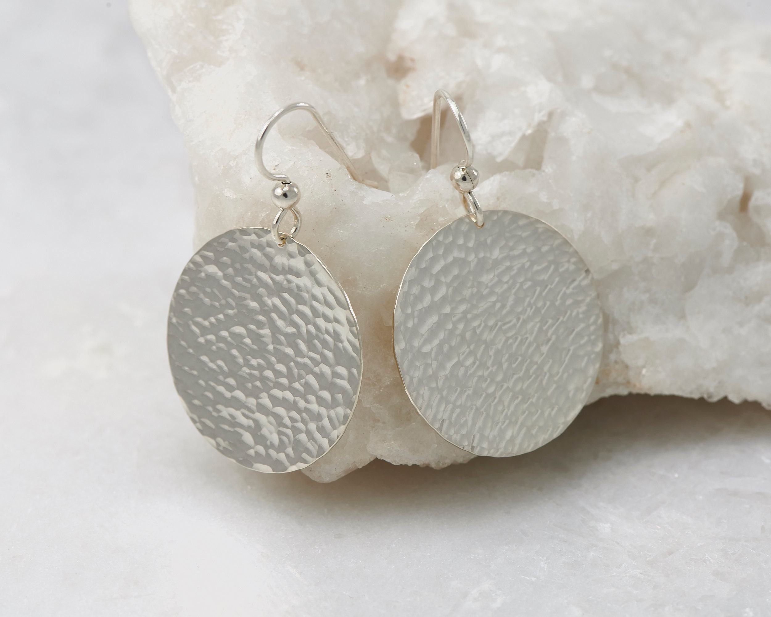 af3595534a0 Silver Hammered Disc Earrings- Large Sterling Silver Earrings- Silver ...