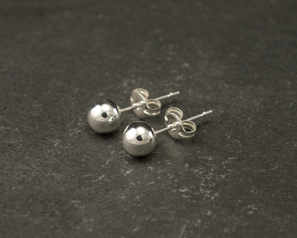 Silver Ball Stud Earrings Silver Ball Studs Silver Ball Etsy