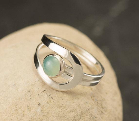 Aqua Chalcedony Ring - Blue Gemstone Ring - Sterling Silver Ring -  Aqua Mint Stone Ring -Sea Foam Green