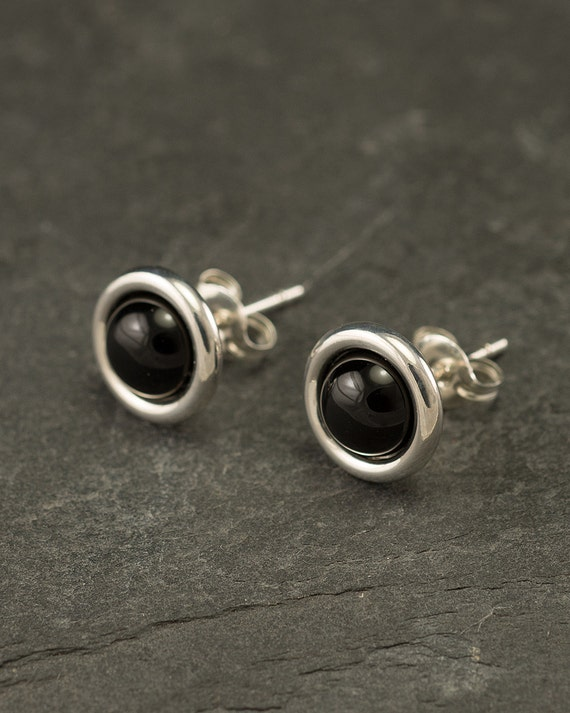 Black Onyx Studs- Black Onyx Earrings- Black Onyx Stud Earrings- Black Stone Earrings- Sterling Silver Studs- Black Stone Post Earrings