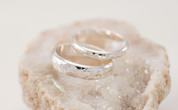 Wedding Band Set | Wedding Band Set Hammered Wedding Rings Silver Wedding Etsy