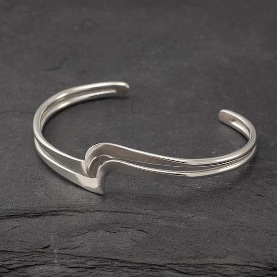 """Modern Silver Cuff Bracelet- Sterling Silver Bracelet - Handmade Sterling Silver Jewelry- """"Double Wave Bracelet"""""""