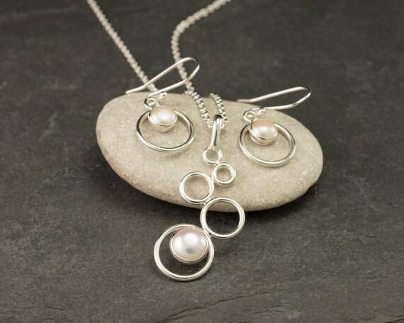 Pearl Necklace, Pearl Earrings- Pearl Jewelry Set- Sterling Silver Pearl Wedding Jewelry Set- 2 piece set