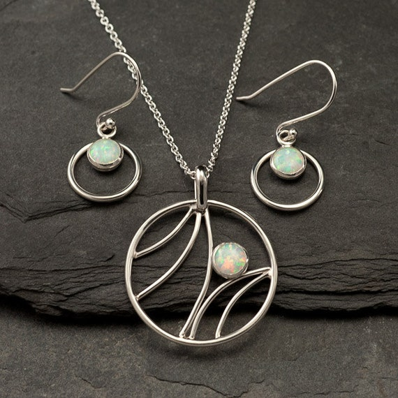 Opal Necklace, Opal Earrings- Opal Jewelry Set- Sterling Silver Jewelry Set- 2 piece set