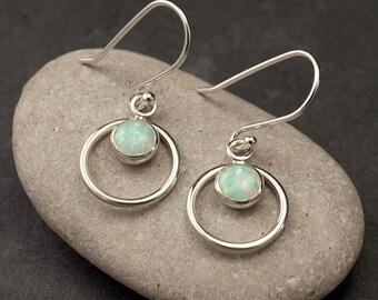 Opal Earrings- Silver Opal Earrings- Opal Dangle Earrings- Silver Earrings with opal gemstones- October birthstone