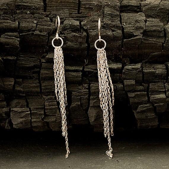 """Silver Dangle Earrings- Long Chain Earrings- Modern Chandelier Earrings- Handmade Sterling Silver Jewelry- """"Cascading Chains"""""""