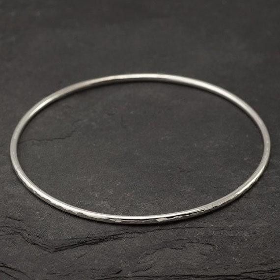 """Sterling Silver Bangle Bracelet- Hammered Bangle- Silver Bracelet- Modern Handmade Silver Jewelry - """"Ripple Bangle"""""""