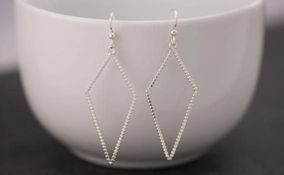 Silver Triangle Earrings- Sterling Silver Geometric Earrings- Silver Diamond Earrings- Sterling Silver Dangle Earrings