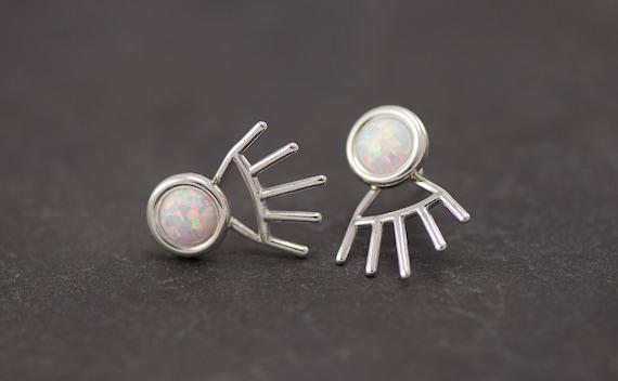 Spike ear jacket- Silver Opal Earrings- Opal Stud Earrings- Silver Opal Earrings- Sterling Silver Studs- Opal Post Earrings