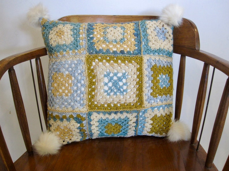 crochet cushion granny square pillow cover with white faux fur tassels handmade