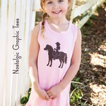 CLEARANCE SALE On the Ranch Ruffle Tank Dress by Nostalgic Graphic Tees in Pink with  Chocolate