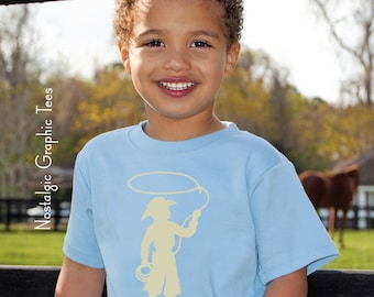 SALE Cowboy Short Sleeved Nostalgic Graphic Tee in Steel Blue with Khaki--Our Best Selling Design