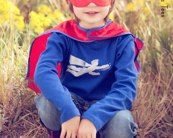 Super Hero Long Sleeved Nostalgic Graphic Tee in Royal Blue with Silver Sparkle Ink Free Shipping