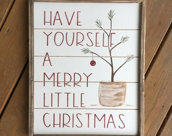 Reversible Christmas sign, reversible fall sign, have yourself a merry little Christmas, thankful sign, fall sign, farmhouse sign