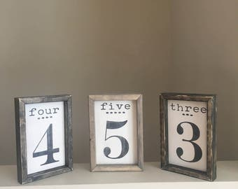 number sign, family number sign. gallery number, rustic family sign, wedding table marker, rustic wedding sign