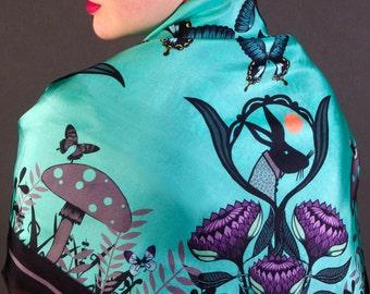 Alice Silk Scarf / Alice in Wonderland Silk Scarf / Green Silk Scarf