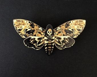 Death's Head Hawk Moth Brooch/ Death's Head Hawk Moth Pin/ Moth Brooch / Moth Pin / Gothic Brooch / Gothic Pin