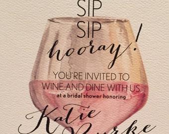 Wine Themed Shower Invitation