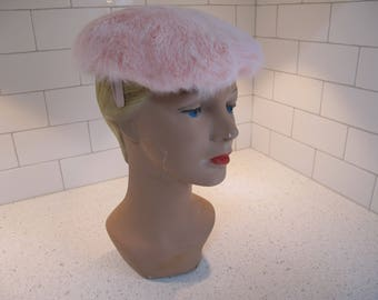 9cbf87139cb Hat Cap 1950s Pale Pink Rabbit Fur Wired Side Clips Dainty Fluffy Soft  Tagged Schuster s Milwaukee Dressy Vintage Ladies Millinery
