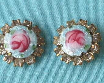 Earrings Vintage 1940s Blue Enamel Pink Roses Green Leaves Rhinestone Borders Pierced
