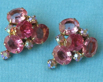 Earrings Pink Crystal & Aurora Borealis Rhinestones Cluster Vintage 1950s Gold Toned Clip On Style