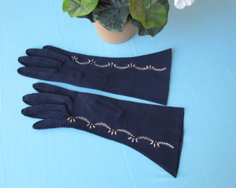 c.1960's Gloves Navy Cotton Knit 3/4 Length Dainty White Fern Hand Embroidery