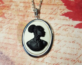 Afro-American New Afrikan Woman Gele Porcelain Pendant African American Africa African Lady Zebra Print Woman,Cameo Necklace