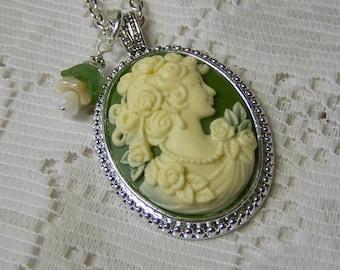 Goddess Vintage Style Victorian Cameo Pendant Smokey Quartz Lady Cameo Necklace Roses Woman Caramel Ivory Lady Rosewood