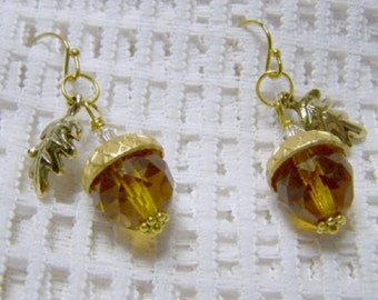 9263689aa Amber Acorn and Leaf Earrings - Faceted Crystal - Acorn earrings - Autumn  Earrings - Fall Wedding - Woodland Wedding