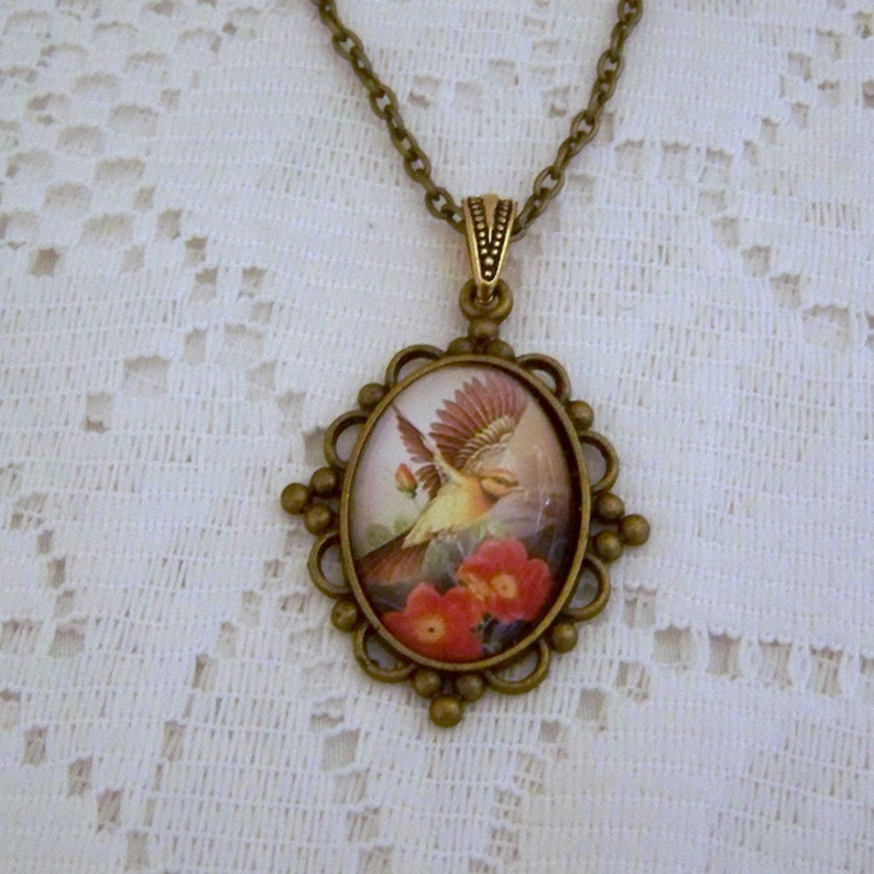 Red  Flowers Bird Watching Flying Sparrow Necklace Antiqued Bronze Ornithology Flying Free Brown Yellow Cream Bird Pendant