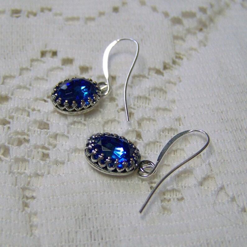 f797dd3a0580 Azul zafiro aretes pendientes de cristal Swarovski
