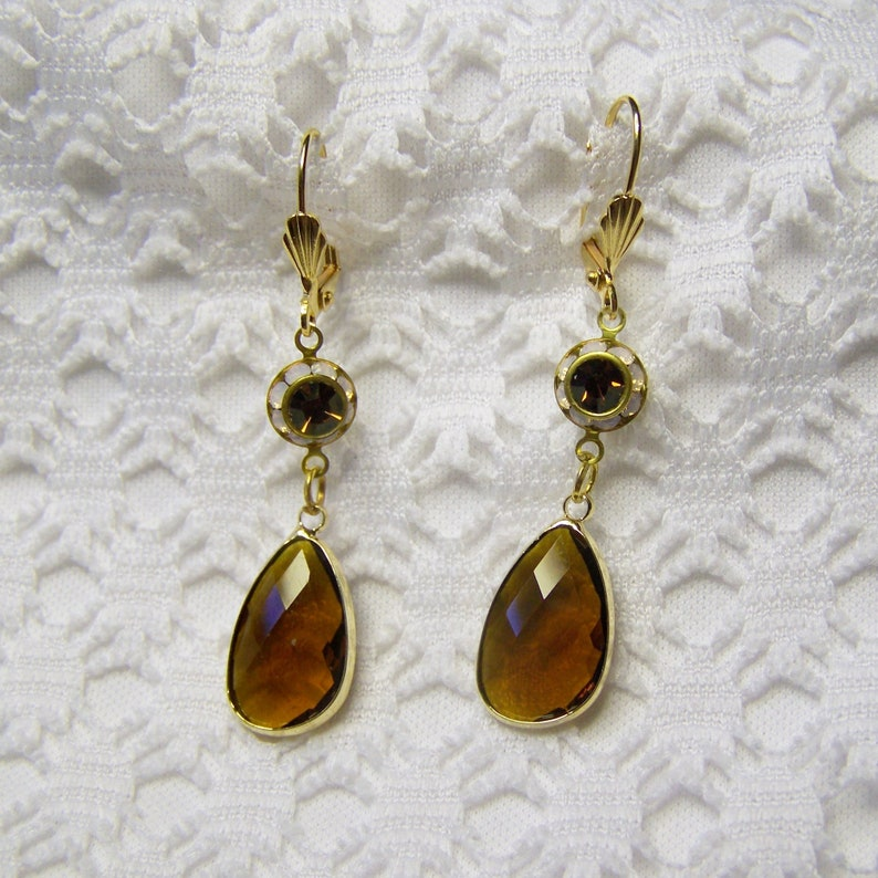 Faceted Topaz Glass Lever Back Earrings Topaz and Rose Water Opal Crystal Teardrop Gold-plated Long Dangle Earrings November Birthstone