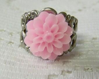 PINK Dahlia Ring - Cotton Candy Chrysanthemum Flower - Silver Filigree - Adjustable Ring