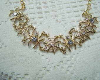 Spider Necklace, Spider & Web Necklace, Halloween Spider Jewelry, Gold Rhinestone Spider, Gothic, Arachmid, Tarantula, Halloween Necklace