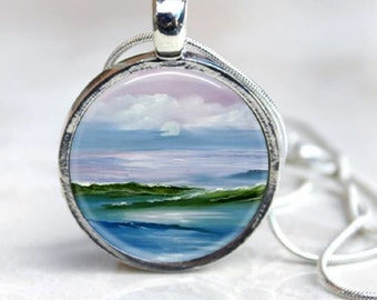 Pastel Beach Sunset Art Pendant and chain - Your choice of finish and chain