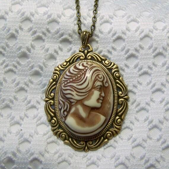 Goddess Diana Cameo Necklace Large 3 Dimensional Diana Cameo Etsy